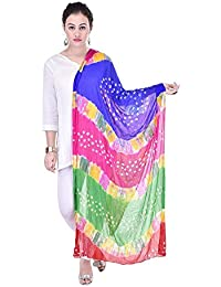 Fashion Store Women's Chiffon Jaipuri Bandhej Dupatta Stole,chunni (Multicolor, Free Size)