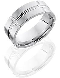 SlipRock Cobalt Chrome, Engraved Satin Finish Flat Wedding Band (sz H to Z1)