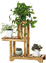 Sharpex Plant Stand Rack Indoor & Outdoor, 3 Tier Wood Plant Display Rack with Multi Shelves, Flower Pots Organizer Holder,