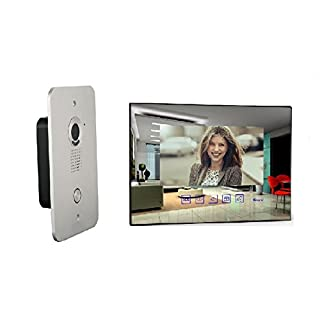 4 Draht Türsprechanlage Gegensprechanlage Video Bildspeicher mit 7'' LCD Monitor (spiegel)