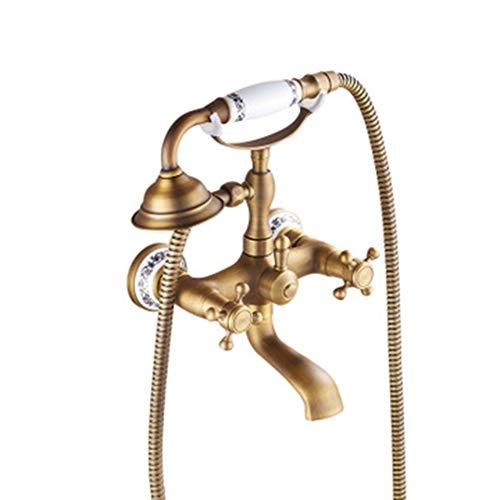HLJ BST Handdusche mit Keramik Ventil Zwei Griffen Zwei Bohrungen für Messing antik Wasserhahn, Dusche/Badewanne Armatur enthalten (Badewanne Mit Wasserhahn Dusche Griff)