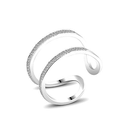 Ringe Frauen Schmuck Für (Weiß Vergoldet Damen-Ring schmuck Damen-Ring bund Grösse einstellbar)
