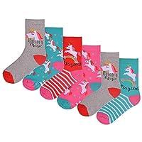 Girls 6 Pack Unicorn Design Socks Bright Coloured Cotton Rich Metallic Detail