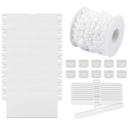 Gydandir Vertical Blind Accessories/Set, 1 Roll 15 Meter Vertical Blind Bottom Chain10 Pcs 89 mm White Bottom Weights Slats, 10 Pcs Top Hangers and 10 Pcs Chain Connectors for 89 mm/3.5 Inch Slats