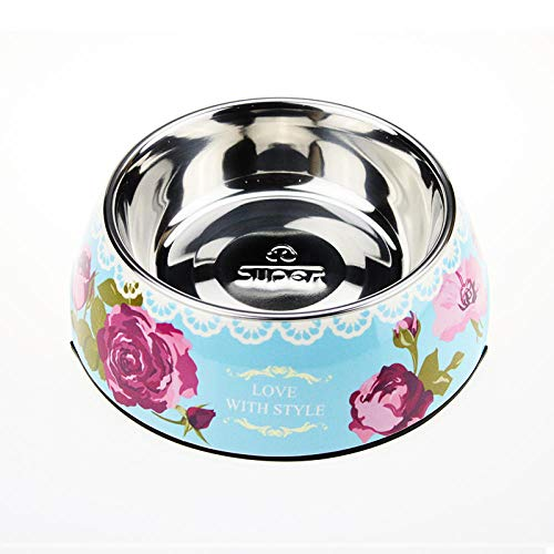 NSUYZ Hundebecken Hundenapf Hundenapf Katzenapf Katzenapf Hundenapf Katzenapf Edelstahl Dual-Use @ Light Blue Garden Flower_M-Medium Geeignet für Gewicht 2-7 Kg -