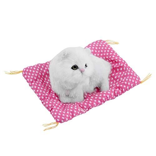 Heaviesk Simulation Tier Katze Puppe Schöne Kleine Simulation Tierhandwerk Puppe Plüsch Faule Schlafende Katzen mit Sound Kinder Spielzeug Geburtstagsgeschenk Puppe Stofftier -