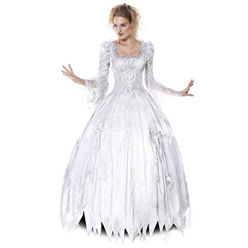 Tjtcs Erwachsene Frauen Halloween Disguise Kleider Corpse Countess Kostüm White Ghost Bride Kostüme Scary Queen Princess Outfits,XL