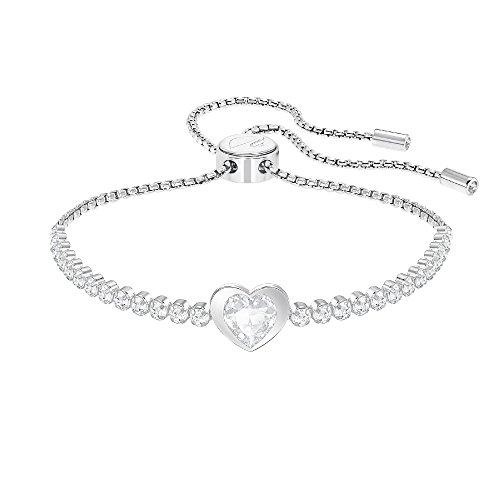 Swarovski Subtle Heart Armband, Weiss, rhodiniert