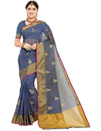 sidhidata textile women's kota cotton emberiodered saree with unstitched blouse piece(blue bell_blue_Free Size)