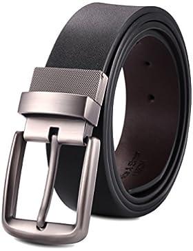 Alice & Elmer Cinturón Hombre de Cuero Marrón y Negro con Reversible Hebilla Pulida Giratoria