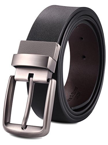 Alice & Elmer Men's Dress Belt Leather Twist Reversible 1 1/2'' Wide With Removable Rotated Buckle