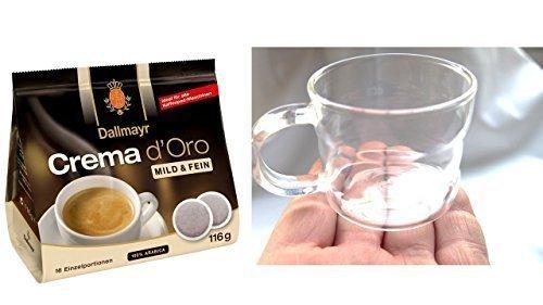 dallmayr-crema-d-oro-mild-y-fein-pads-116g-diseno-cristal-taza-taza-de-cafe-cafe-taza-cristal-200ml-