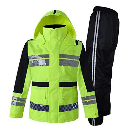 LYL Store-sicherheitswesten Traffic Patrol reflektierende Regenjacke Regenhose Set Anti-Sturm Regenjacke Jacke Verdickung Reiten wasserdichte Kleidung (Größe : XXXL)