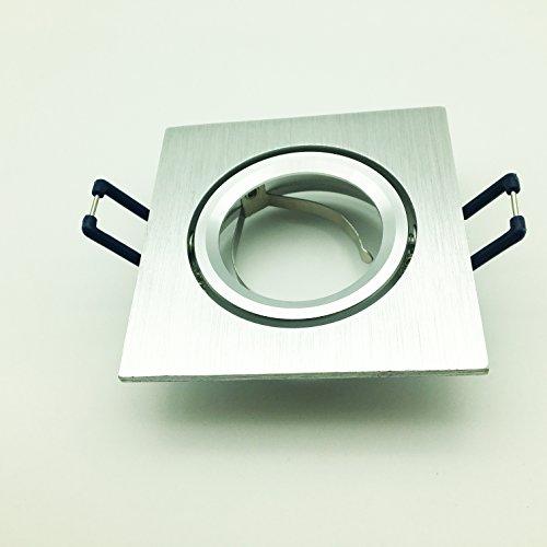 Portaf Aretto carré en aluminium poli satiné/support réglable à encastrer Réflecteur 50 mm avec douille GU10