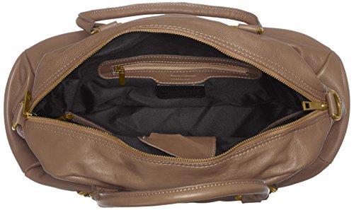 CTM Borsa da Donna Grande, Stile Bauletto, 47x29x21cm, Vera pelle 100% Made in Italy Fango
