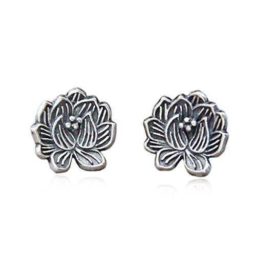 EUMI Ohrringe Damen Ohrringe Sterling Silber Ohrringe 925 Sterling Silber Ohrringe mit Einem Diamant-Zirkon-Anhänger für Damen (Lotus)