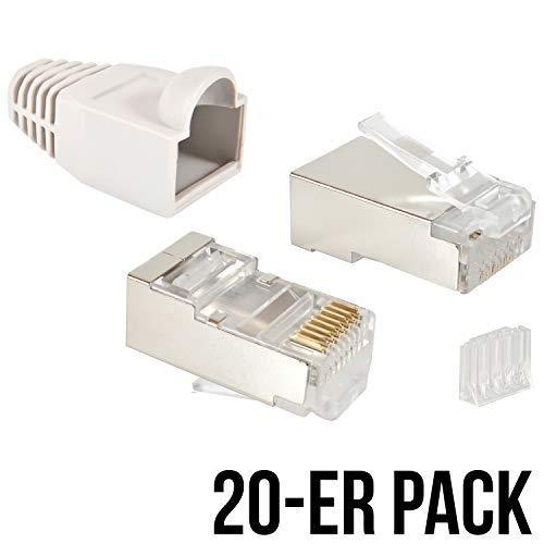 VESVITO 20er Pack Crimpstecker CAT 6 STP geschirmt mit Einfädelhilfe und Knickschutz in Grau RJ45 Stecker Patchkabel Netzwerk LAN Kabel Netzwerkstecker Modular Plug Steckverbinder -