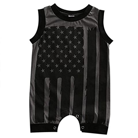 BURFLY Infant Baby 4th Of July American Flag Romper Clothes Outfit (12Months, black)