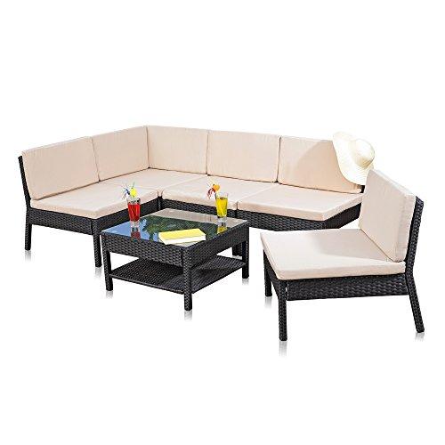 Melko® Gartenset, Poly Rattan, Lounge Sofa-Garnitur mit Glastisch, Schwarz, inklusive Kissen, mehrteilig