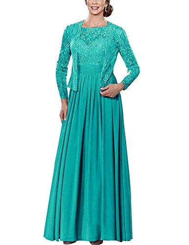 HUINI Lange Chiffon Mutter der Braut Kleid Formale Abschlussball Kleid Mit Spitze Jacke Jade