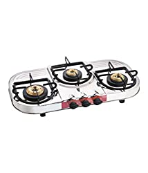 APEX Steel 3 Burners Gas Stove, Silver