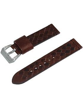 22 mm gewebtes italienisches Uhrenarmband aus Leder mit satinierter Edelstahl-Schliesse in Dunkelbraun
