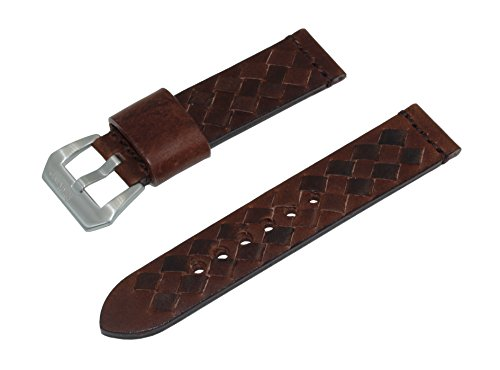 22mm-dark-brown-woven-italian-leather-watch-band-with-satin-finished-stainless-steel-buckle
