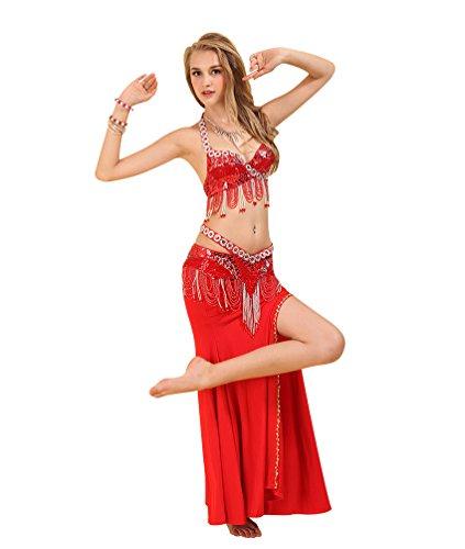 SunWanyi Mujeres Conjunto de Belly Dance Traje de Danza Profesionales Danza Del Vientre Traje de Baile de La India (Descripción de la Referencia)