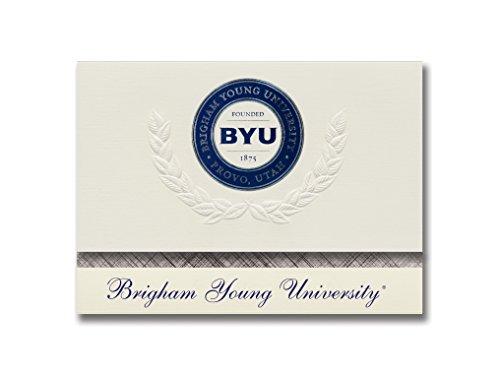 Signature Ankündigungen Brigham (Young Universität Graduation Ankündigungen, platin Stil, Basic Pack 20mit Brigham (Young u. Dichtung Folie -