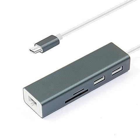 USB C HUB Adaptateur 3.1, Type C Lecteur de carte + Hub Cymall USB C Hub avec port USB 3.0 et Gigabit Ethernet 3 ports, Type C PORT DE CHARGE, USB 3.0 Ports HUB Adaptateur Lecteur de carte, Adaptateur réseau Micro SD / TF / Lan Portable pour Nouveau MacBook, Google, ChromeBook Pixel et plus de périphériques USB C (Gris)