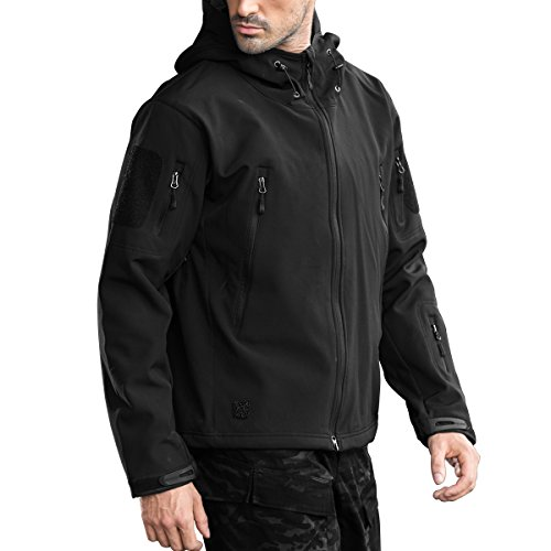 Free Soldier Outdoor Wasserdicht Softshell Herren Hooded Millitary Tactical Jacket, Herren, schwarz (Nylon-anzug Gefütterte)
