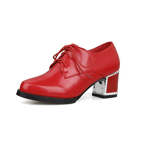 AllhqFashion Damen Mittler Absatz Weiches Material Rein Schnüren Spitz Zehe Pumps Schuhe Rot
