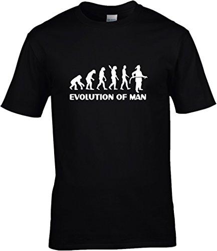 Fun Shirt Sprüche Herren Evolution of Man Feuerwehr mit Feuerwehrmann, T-Shirt, Grösse M, schwarz (Schwarz T-shirt Feuerwehrmann)