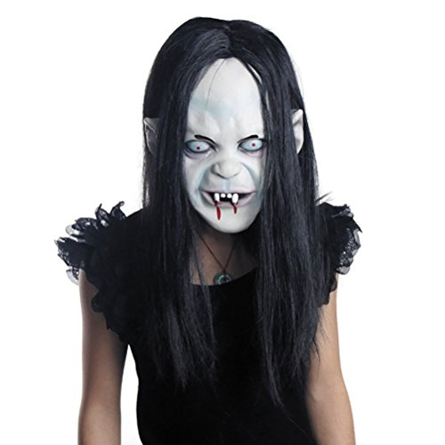 LUOEM Halloween Horror Grimace Ghost Mask Peluca de Pelo Largo resentimiento Sadako Ghost Peluca Espeluznante máscara de Disfraces de Miedo para Halloween Party Supply