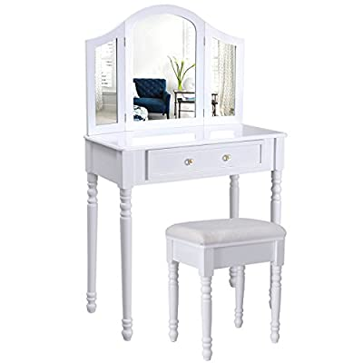 Songmics chic 3 foldable mirrors Dressing Table Set with white stool 1 big drawer store for cosmetics Made-up hair nail supplies RDT33W produced by Songmics - quick delivery from UK.