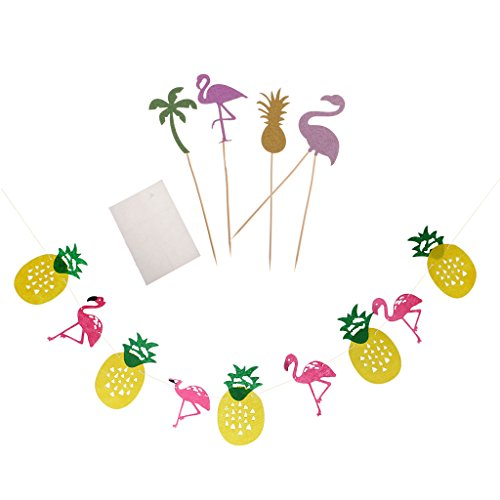 Ananas Banner Girlande mit Flamingo Cake Picks Sommer Party Dekor (Essen Für Ein Luau)