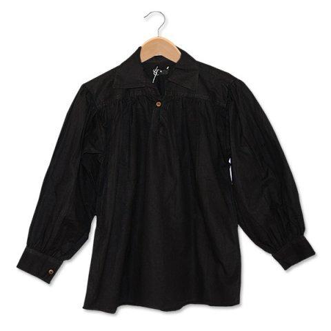 SAY Mittelalter Baumwollhemd mit Stehkragen/Größe XXL/Farbe: schwarz/Mittelalter Gewandung/Syndicate Armoury