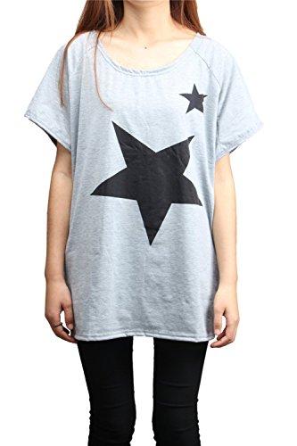 Camicia Maglia Manica Corta Donna Maniche Camicia Blusa Corte T-shirt Casual Top Stella -LATH.PIN