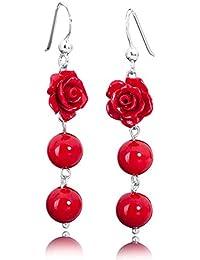 Materia Schmuck Rosen Ohrhänger Koralle rot - 925 Silber Ohrringe Koralle rote Rose mit Kugeln #SO-113