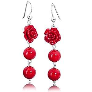 Materia #SO-113 Pendants d'oreilles en corail et argent925 Motif: rose et boules Rouge