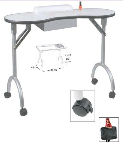table manucure pliable diego avec tiroir et sac