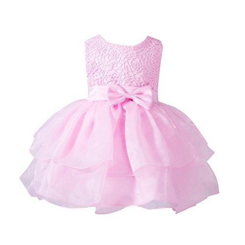 ESHOO kleine Blumen-Mädchen Bowknot-Prinzessin Kleid Partei-Festzug-Hochzeits-Brautjunfer-Ballettröckchen Kleid 0-24 M