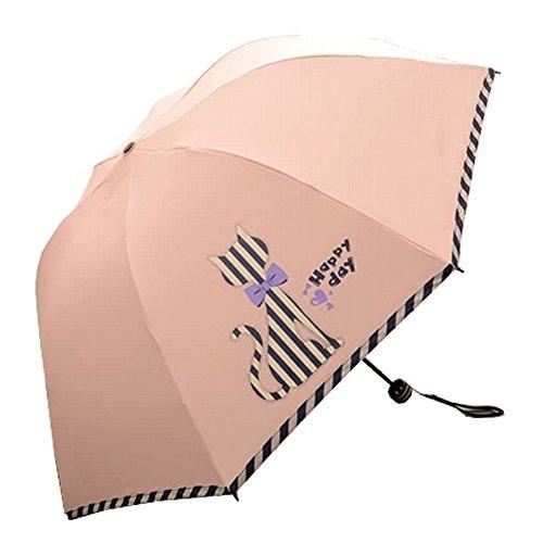 Drei reizende Katze-faltender Regenschirm UV-Schutz Sonnenschirm, Light Orange