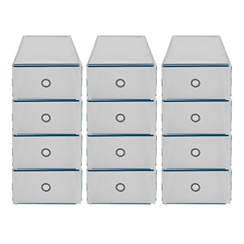 Schuh-schublade (12 Aufbewahrungsbox Stapelbox Schuhbox Schuhkarton Allzweckbox Schublade (12 X Schuhe Aufbewahrungs box))