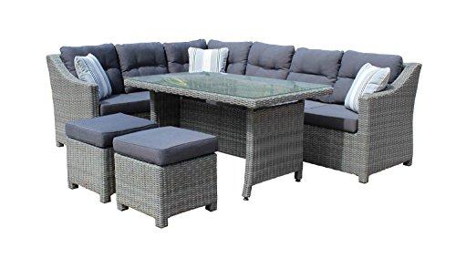 Rattan Lounge-Set in Grau mit Polyrattan Sitzecke, Gartenmöbel inkl. Kissen sorgt für Sommerlust auf der Terasse oder auf dem Balkon - jetzt kaufen