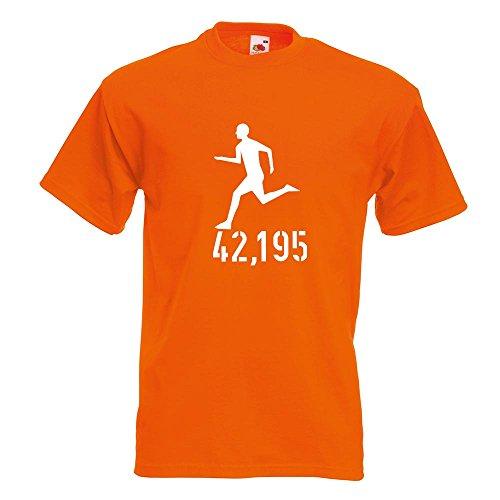 KIWISTAR - 42,195 Laufen T-Shirt in 15 verschiedenen Farben - Herren Funshirt bedruckt Design Sprüche Spruch Motive Oberteil Baumwolle Print Größe S M L XL XXL Orange