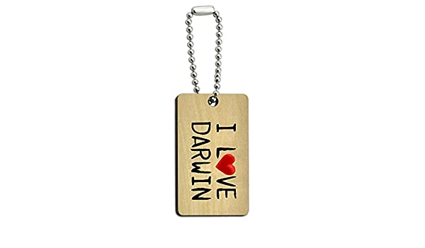 Graphics and More I Love Darwin Written on Paper Wood Wooden Rectangle Key Chain