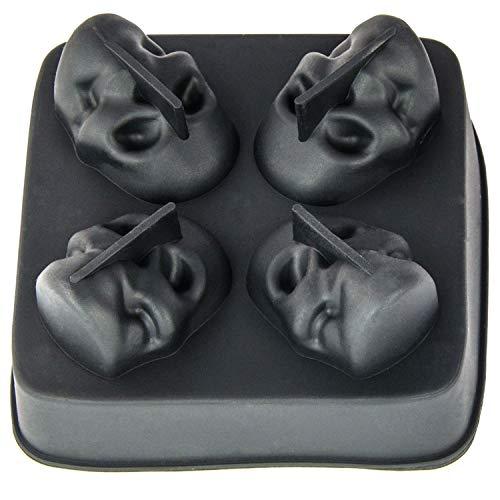 für 4 Totenkopf Ice-Balls, EIS-Ball-Maker, riesige Kugeln, Longdrinks, Gin-Tonic, Vodka-Bull, Whiskey, Skull, Cocktail, Party, Eiswürfel, Ice-Cube, Halloween, Farbe: Schwarz ()
