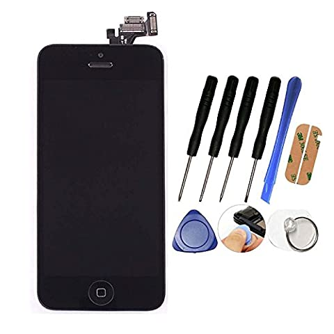 LCD-WORLD® New LCD Touch Screen Replacement for iPhone 5 Full Set Digitizer with Home Button,Bracket,Flex,Sensor,Front Camera,Frame Housing Assembly Display With Free Tool