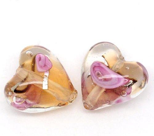Lot de 10 Perles Lampwork Verre Coeur Orange&Rose 13x12mm